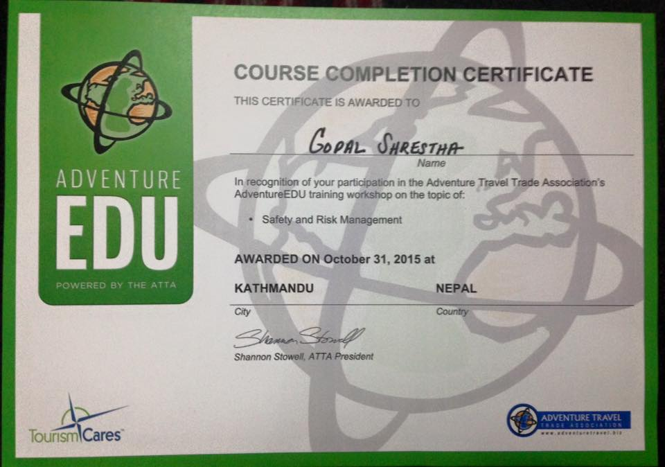 Certificate of Safety and Risk Management