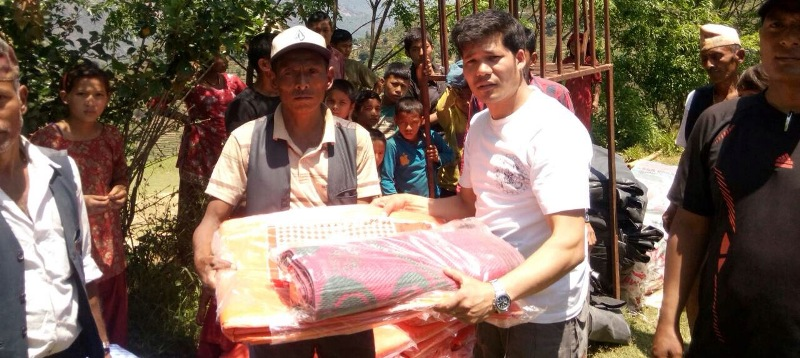 Budhathum Visit with relief materials after Earthquake