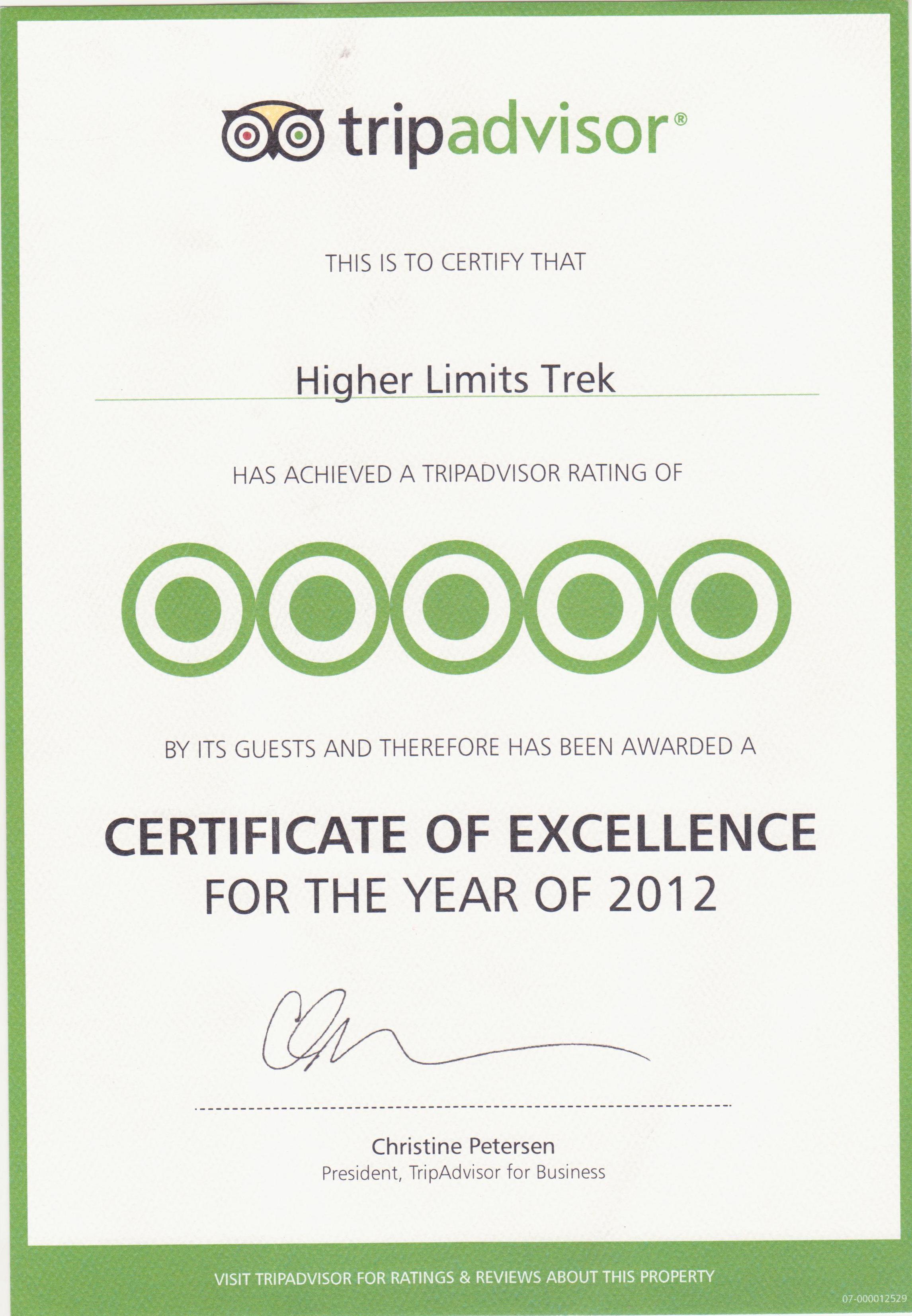 Certificate Of Excellence Winner Higher Limits Trek