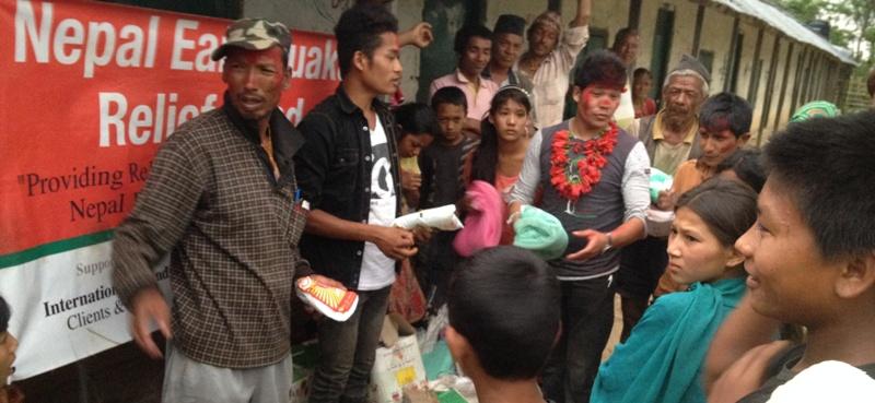 Relief materials distributing