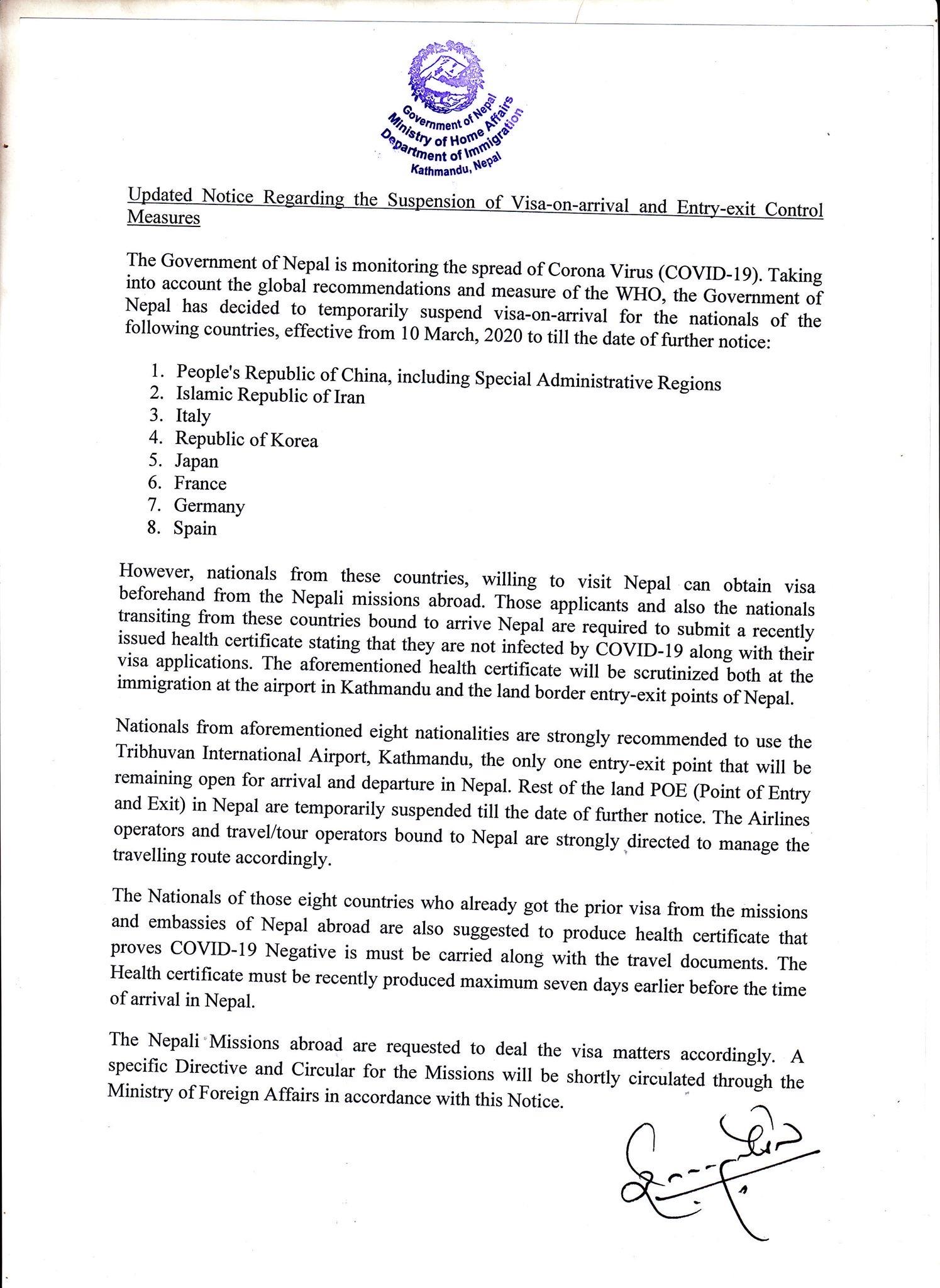 Updated Notice Regarding The Suspension Of Visa On Arrival